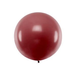 PartyDeco Guľatý latexový Jumbo balón 1m bordový