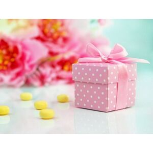 PartyDeco Krabička bodkovaná ružová s mašličkou