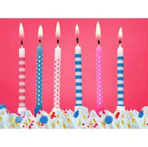 PartyDeco Narodeninové sviečky modré a ružové 6 ks