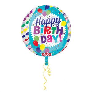 Amscan Fóliový balón Happy Birthday - priesvitný 38 x 40 cm