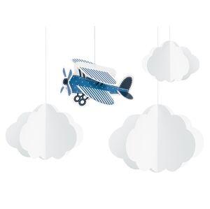PartyDeco Visiaca dekorácia Lietadlo 4 ks