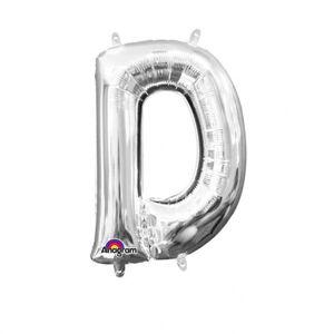 Amscan Mini fóliový balónik písmeno D 33 cm strieborný