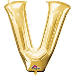 Amscan Mini fóliový balónik písmeno V 33 cm zlatý