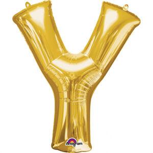Amscan Mini fóliový balónik písmeno Y 33 cm zlatý