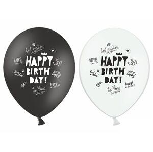 PartyDeco Balónik Happy Birthday pastelový biely alebo čierny