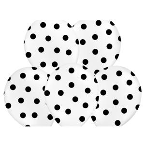 PartyDeco Bodkovaný balónik biely s čiernymi bodkami