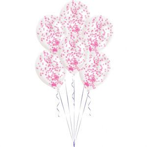 Amscan Latexové balóny s konfetami ružové 6 ks