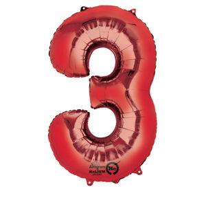 Amscan Balónik fóliový narodeninové číslo 3 červený 86 cm