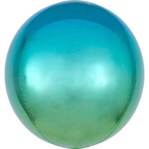 Amscan Ombré modro-zelený fóliový balón- guľa