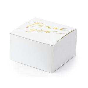 PartyDeco Biela krabička na darček - Ďakujeme