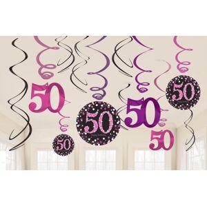 Amscan Dekorácia Víry 50. narodeniny - Trblietavá ružová