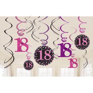 Amscan Dekorácia Víry 18. narodeniny - Trblietavá ružová