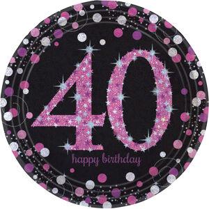 Amscan Taniere 40.narodeniny - Trblietavá ružová