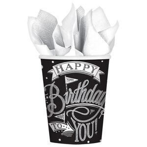 Amscan Poháre Happy Birthday čierno - biele