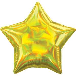 Amscan Fóliový balón - Holografická žltá Hviezda