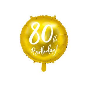 PartyDeco Fóliový balón - 80tka (zlatý)