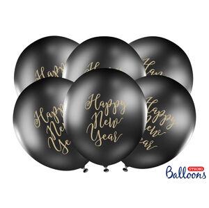 PartyDeco Čierny balón - Happy New Year