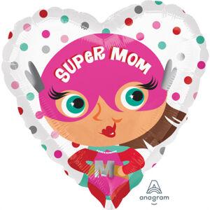 Amscan Fóliový balón srdiečko Super Mama