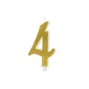 PartyDeco Sviečka na tortu - číslo 4 zlatá