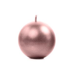 PartyDeco Sviečka - guľa ružovo-zlatá 6 cm