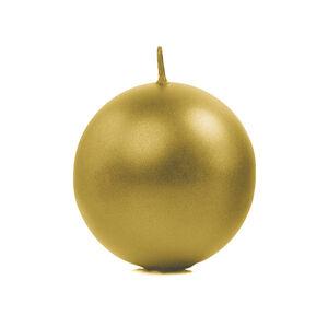 PartyDeco Sviečka - guľa, metalická zlatá 8 cm