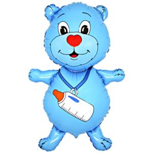 BP Fóliový balón - Macko s fľašou (modrý)