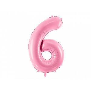 PartyDeco Fóliový balón narodeninové číslo 6 ružový 86cm
