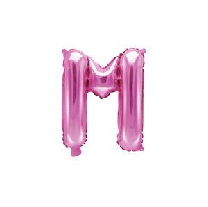 PartyDeco Fóliový balón Mini - Písmeno M 35 cm ružový