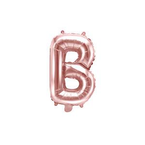 PartyDeco Fóliový balón Mini - Písmeno B 35 cm ružovo-zlatý