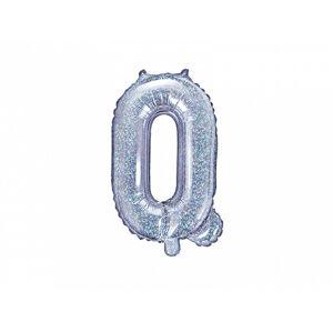 PartyDeco Fóliový balón Mini - Písmeno Q 35 cm holografický