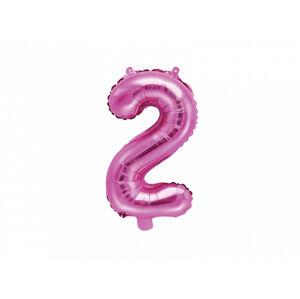 PartyDeco Fóliový balón Mini - Číslo 2 ružový 35cm