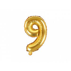 PartyDeco Fóliový balón Mini - Číslo 9 zlatý 35cm
