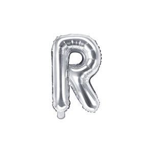 PartyDeco Fóliový balón Mini - Písmeno R 35cm strieborný