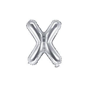 PartyDeco Fóliový balón Mini - Písmeno X 35cm strieborný