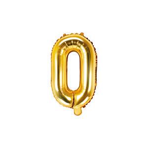 PartyDeco Fóliový balón Mini - Písmeno O 35cm zlatý