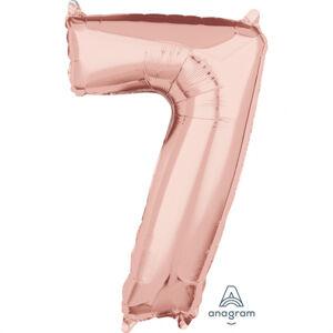 Amscan Fóliový balón číslo 7 ružovo-zlatý 66cm