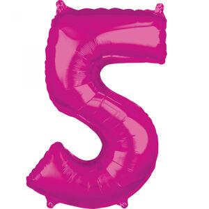 Amscan Fóliový balón narodeninové číslo 5 ružový 66cm