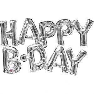 Amscan Fóliový balón HAPPY B-DAY strieborný