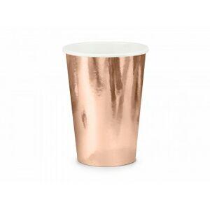PartyDeco Poháre - ružovo zlaté 220 ml