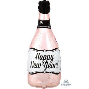 Amscan Fóliový balón - Ružovo-zlaté šampanské Happy New Year!