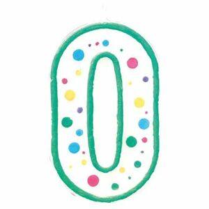 CakeSupplies Zeleno - biela narodeninová sviečka číslica 0