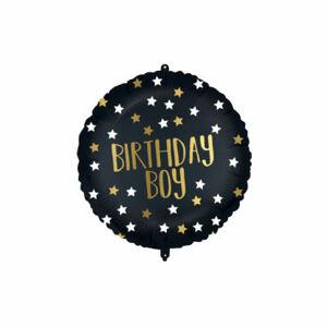 Procos Fóliový balón - Čierno zlatý Birthday Boy 46 cm