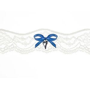 PartyDeco Svadobný podväzok čipkovaný s modrou mašľou