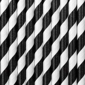 PartyDeco Papierové slamky čiernobiele 10 ks