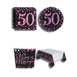 Oslava 50. narodenín trblietavá ružová pre 8 osôb mix