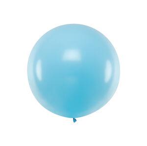 PartyDeco Guľatý latexový Jumbo balón 1m - pastelovo modrý