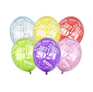 PartyDeco Latexový balón 2021 - metalický
