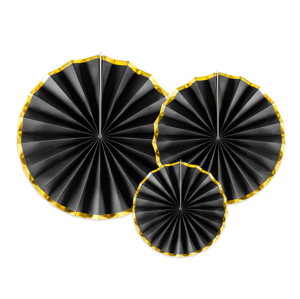PartyDeco Rozety - čierne so zlatým okrajom 3 ks