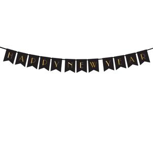 PartyDeco Banner Happy New Year čierny