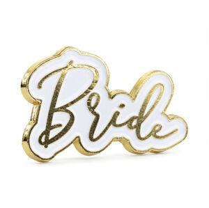 PartyDeco Odznak - Bride bielozlatý